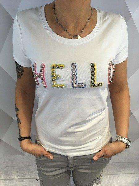 Bluzka biała z napisem hello S/M