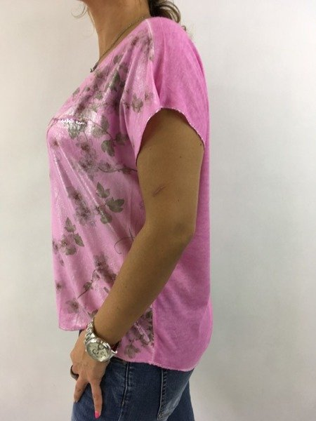 Bluzka dzianionowa różowa w kwiatki.