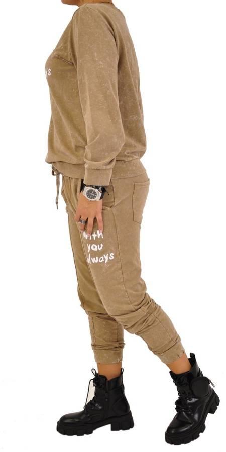 Bluza beżowa marmurek z napisem
