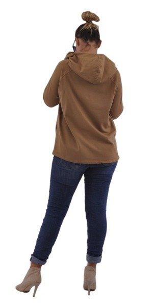 Bluza camelowa z kapturem i zamkiem