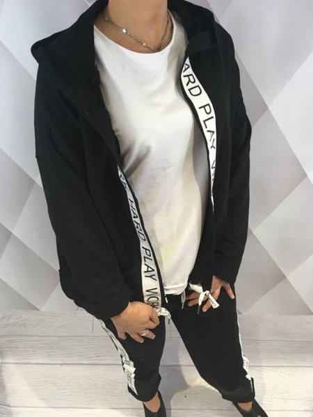 Bluza lużna narzuta  z kapturem czarna