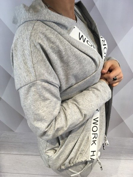Bluza lużna narzuta z kapturem szara