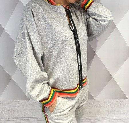 Bluza szara z kolorowym lampasem.