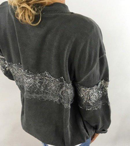 Bluza szara z koronką