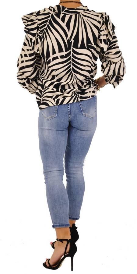 Bluzka beżowo-czarna wzór guziki