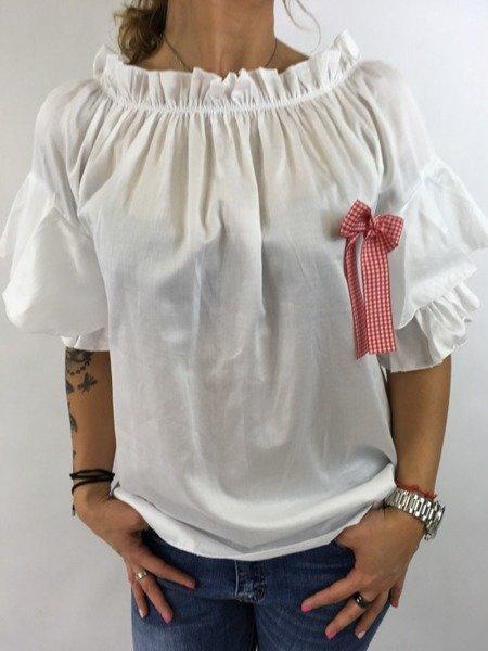 Bluzka biała z broszką czerwona