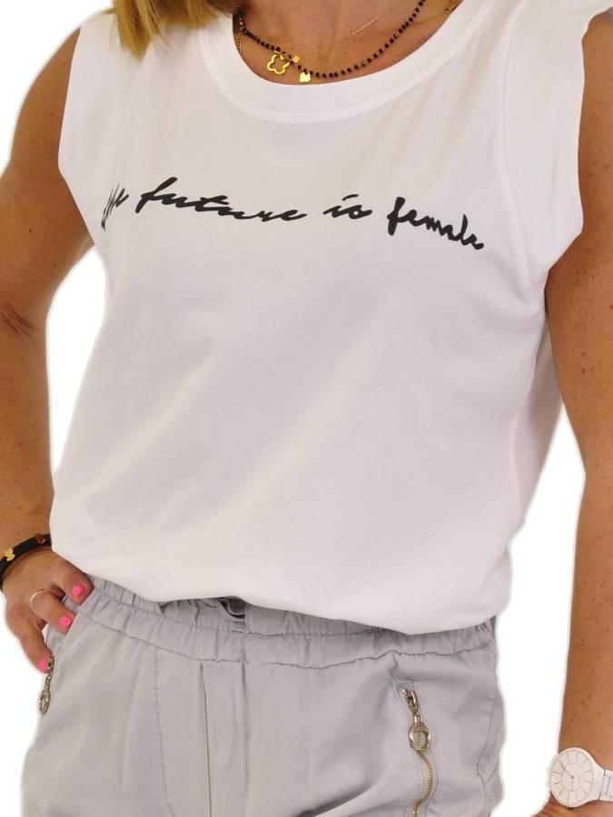 Bluzka biała z czarnym napisem