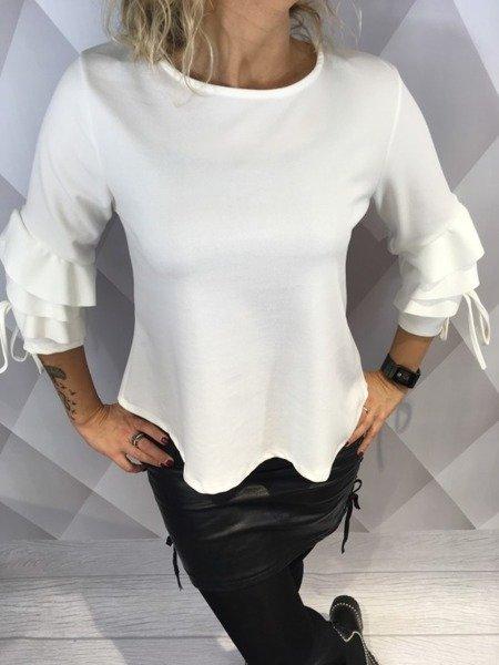 Bluzka biała z ozdobnym rękawem