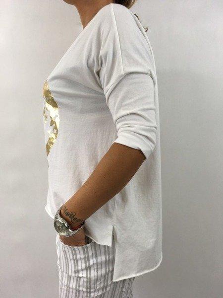 Bluzka biała ze złotą pacyfką.