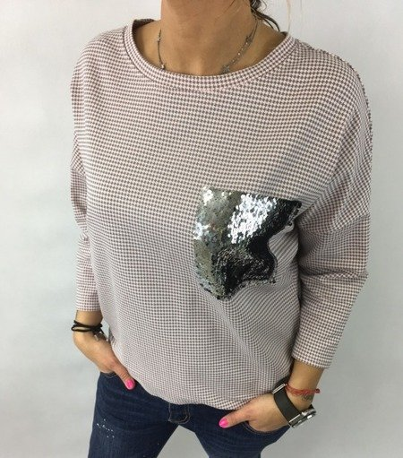 Bluzka cekin kieszeń róż