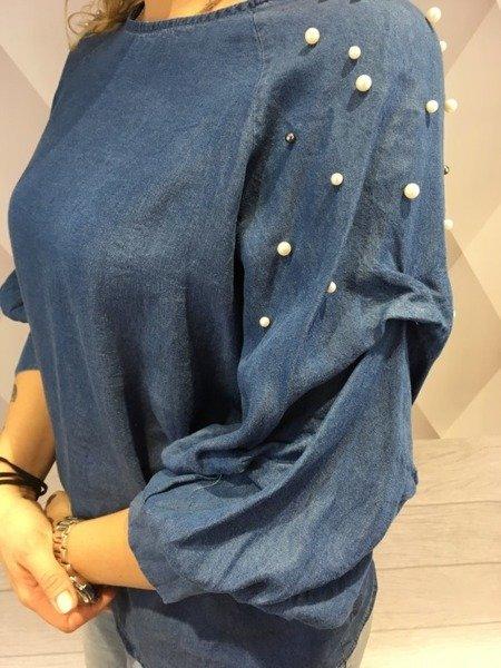 Bluzka jeansowa koszulowa z perłami