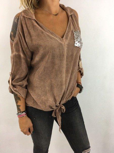 Bluzka kamel wiązana kieszeń