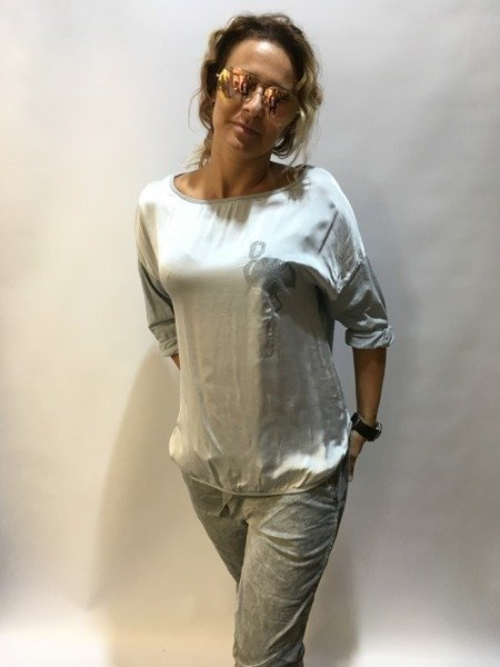 Bluzka szara z flamingiem