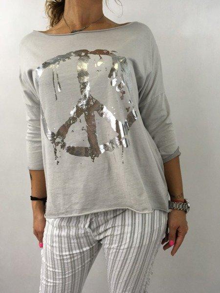 Bluzka szara ze srebrną pacyfką.