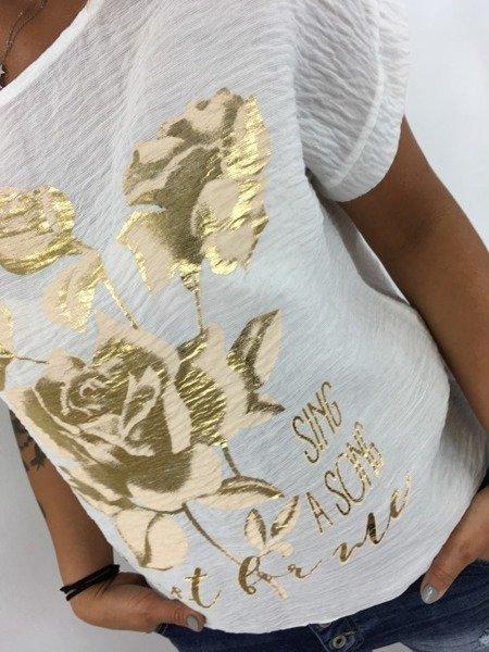 Bluzka w złote róże.