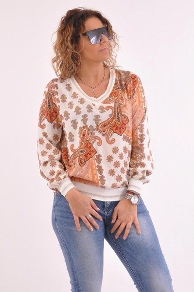 Bluzka wzór pomarańczowa