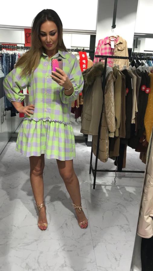 Cudownie miękka sukienka w zieloną kratkę