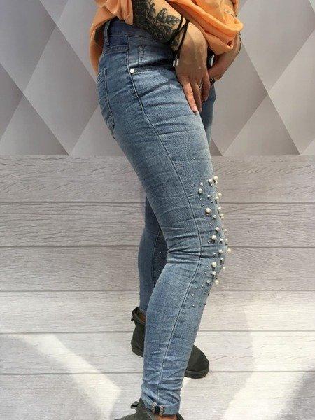 Spodnie jeans z perłami