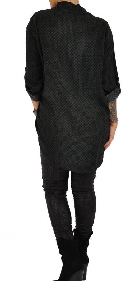 Koszula czarno-zielona przedłużana
