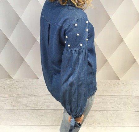 Koszula jeansowa niebieska  z perłami