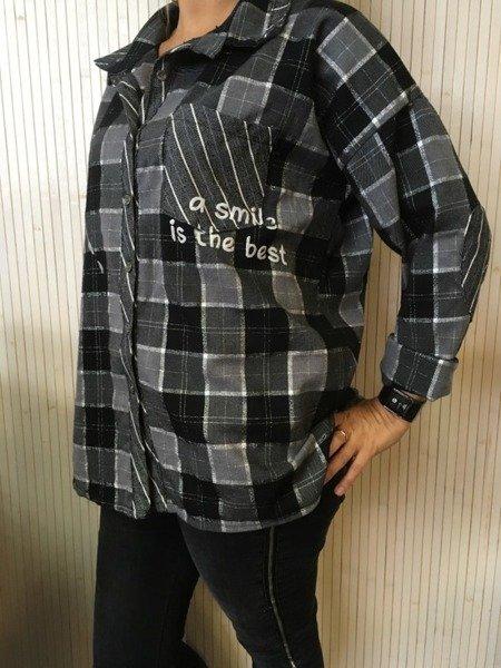 Koszula w kratę szara