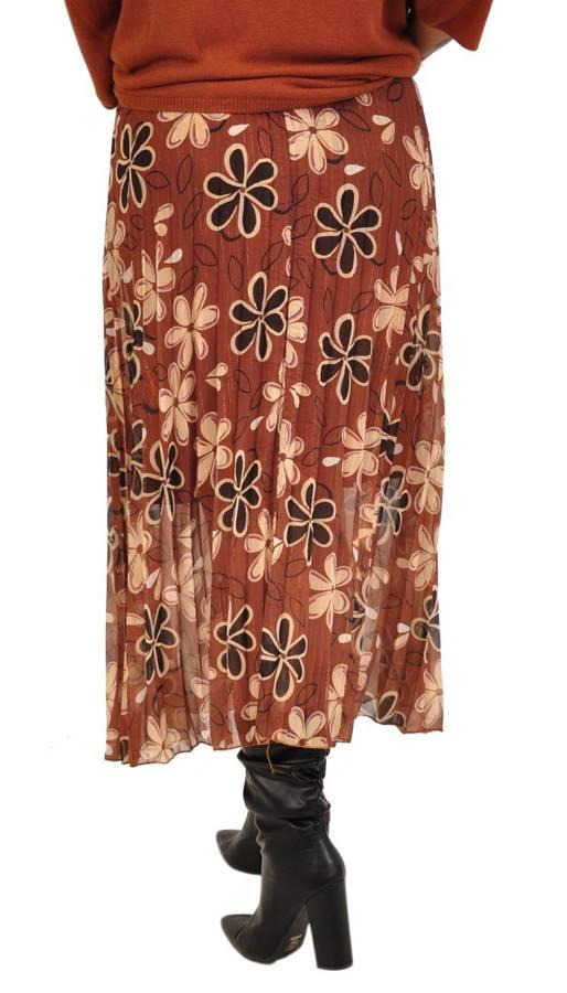 Spódnica brązowa w kwiaty