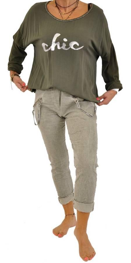 Spodnie beżowe elastyczne z zamkami