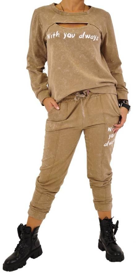 Spodnie beżowe marmurek z napisem