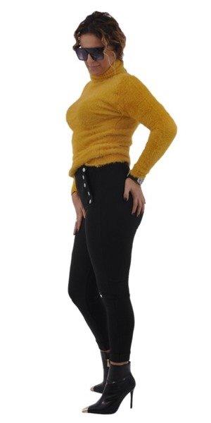 Spodnie czarne leginsy guziki S