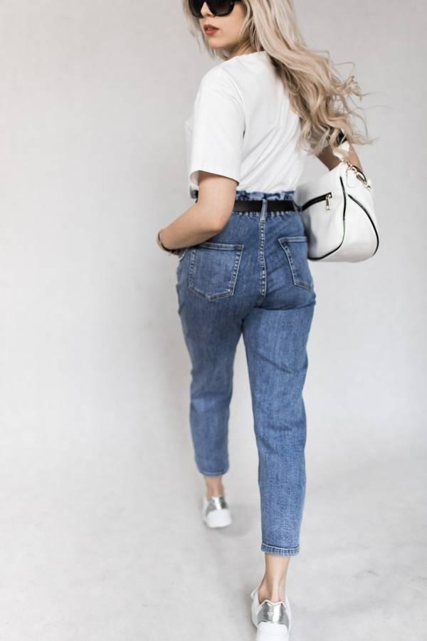 Spodnie jeansowe z wysokim stanem i paskiem M