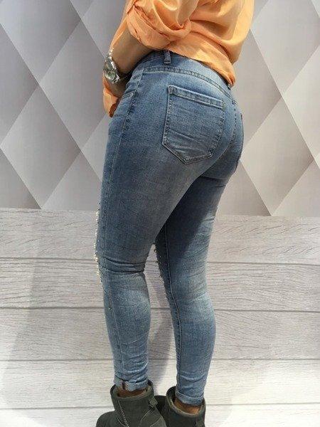 Spodnie jeansy z perłami S.