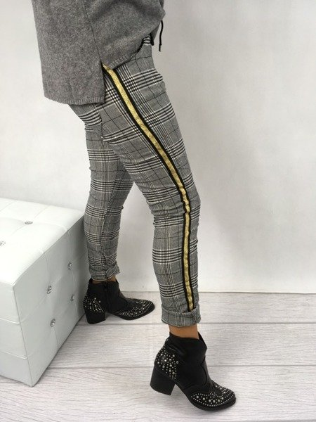 Spodnie szare w kratę złoty lampas