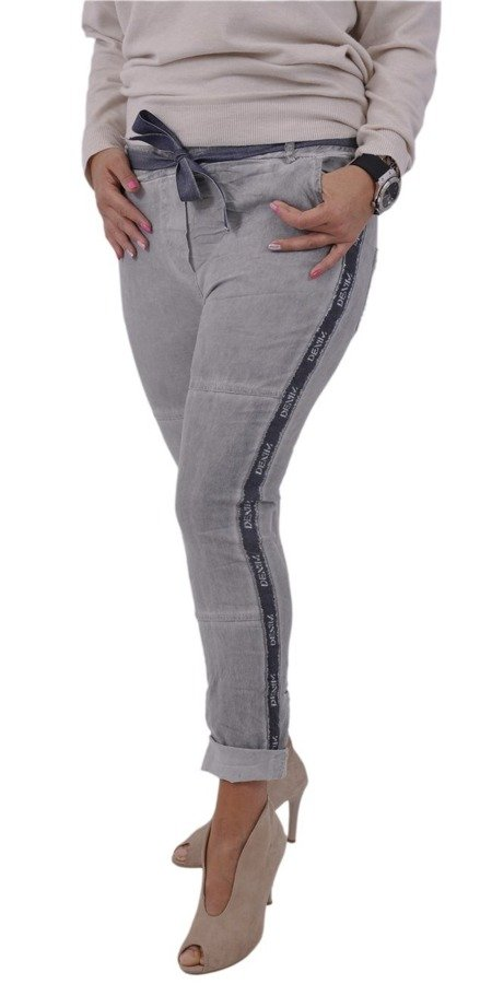 Spodnie szare z jeansową lamówką