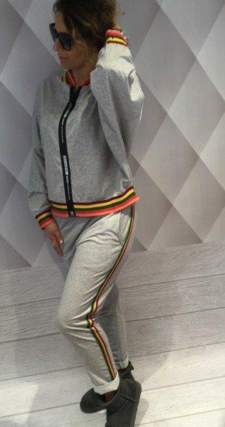 Spodnie szare z kolorowym lampasem.