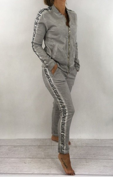 Spodnie szare z lampasem w napisy