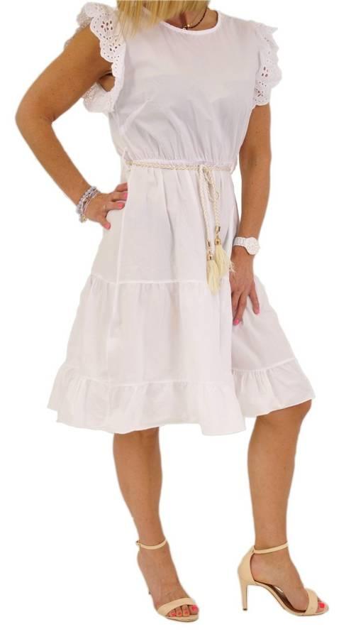 Sukienka biała z falbankami przy rękawach