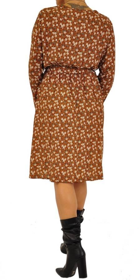 Sukienka brąz w kwiatki wiązana pod biustem