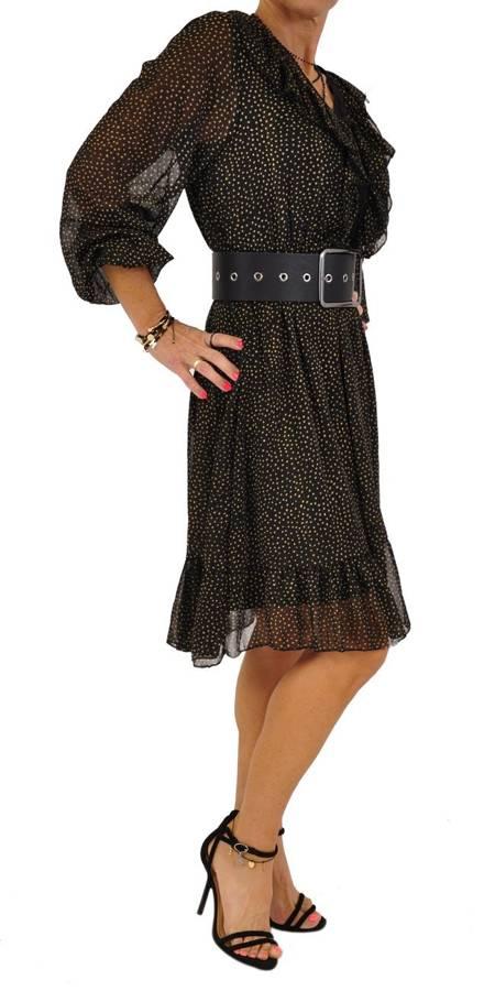Sukienka czarna w złote groszki