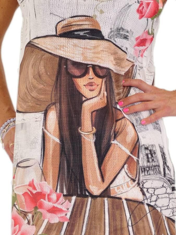 Sukienka dzianina wzór kobieta w kapeluszu