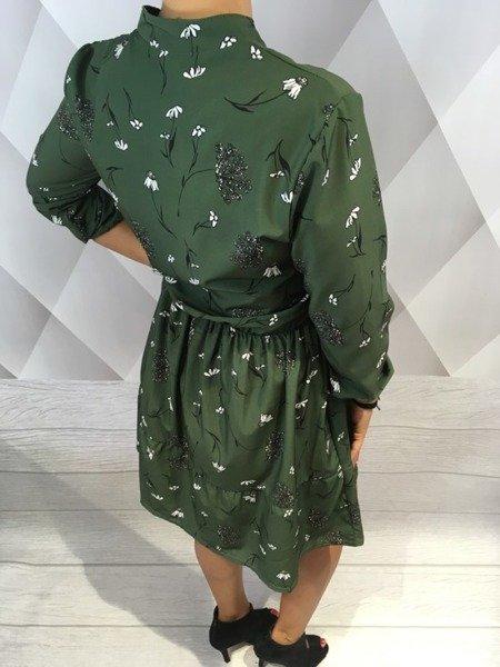 Sukienka kwiaty dekolt zielona