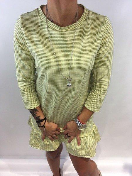 Sukienka pepitka falbana żółta