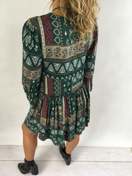 Sukienka we wzór zielona wiązana