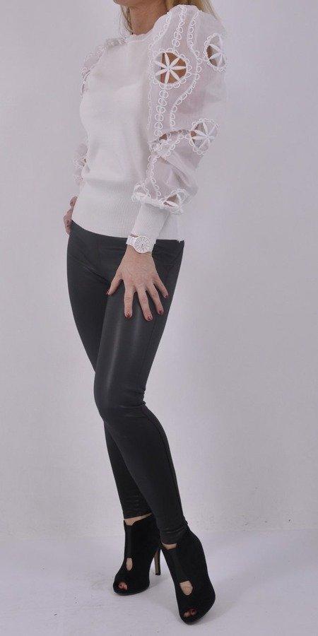 Sweter biały rękaw tiul koronka M\L