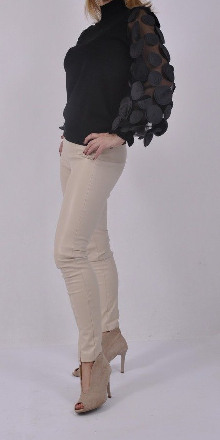 Sweter czarny rękaw tiul bufki M/L