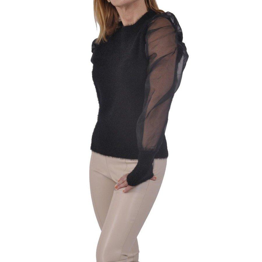 Sweter czarny tiulowe bufki L/XL