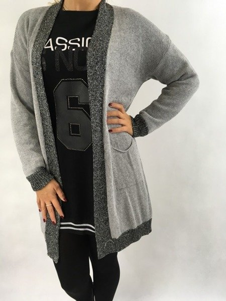 Sweter kardigan grafit lamówka