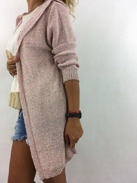 Sweter kardigan kaptur róż