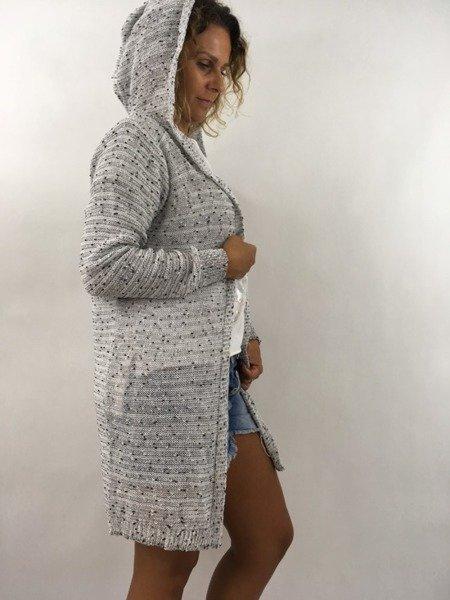 Sweter kardigan kaptur szary