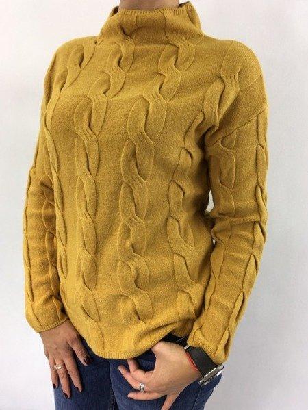 Sweter miodowy warkocz