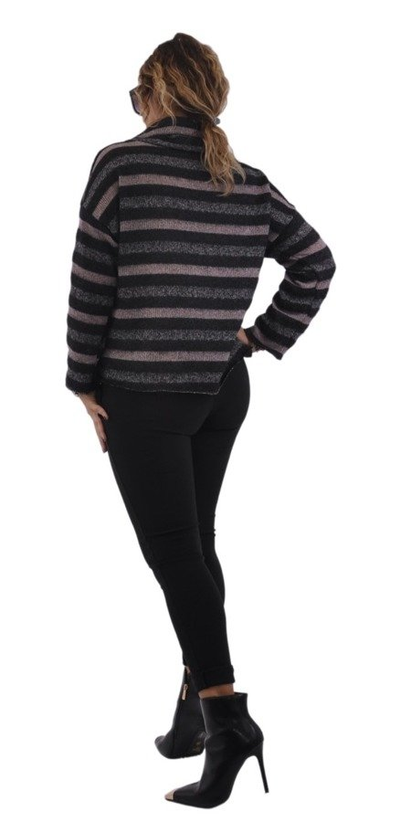 Sweter paski różowe